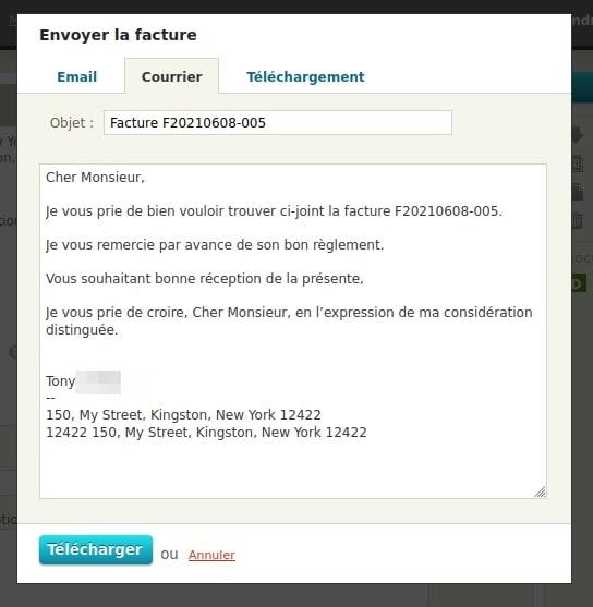 Modes d'envoi de facture, avec un message pré rédigé pour l'envoi par courrier FReelancer