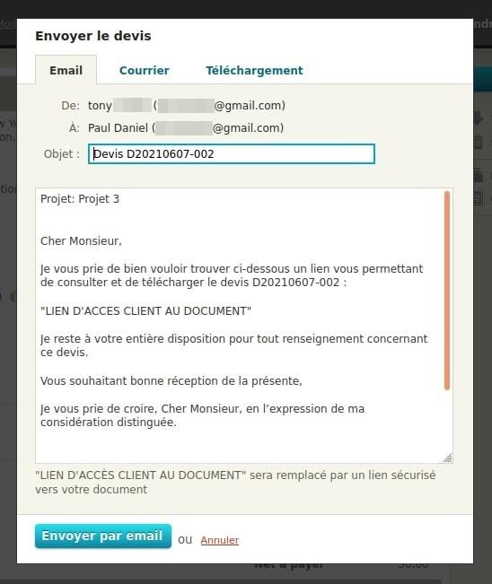 Envoi de devis avec un e-mail pré-rédigé Freelancer