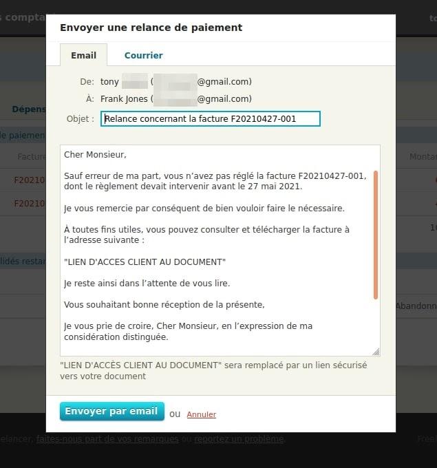 Message optionnel dans la relance de factures de Freelancer