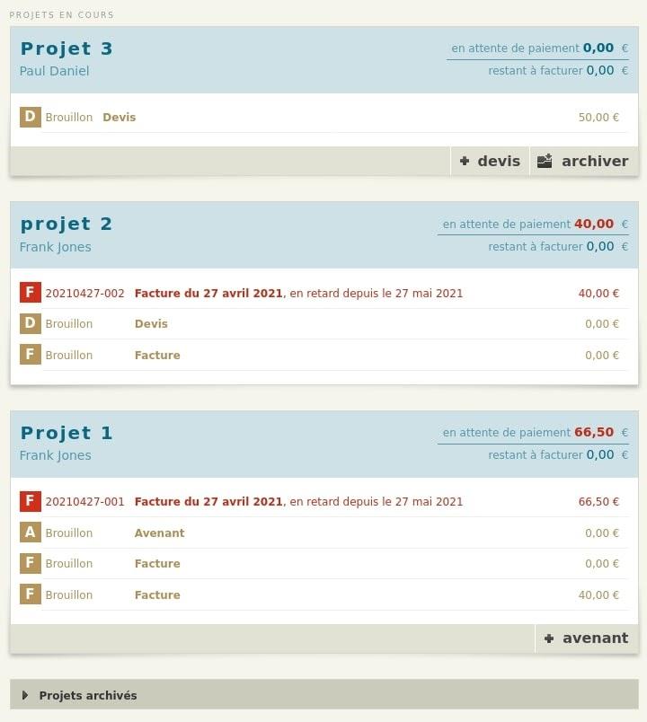 Liste des projets et de leurs documents dans l'accueil Freelancer