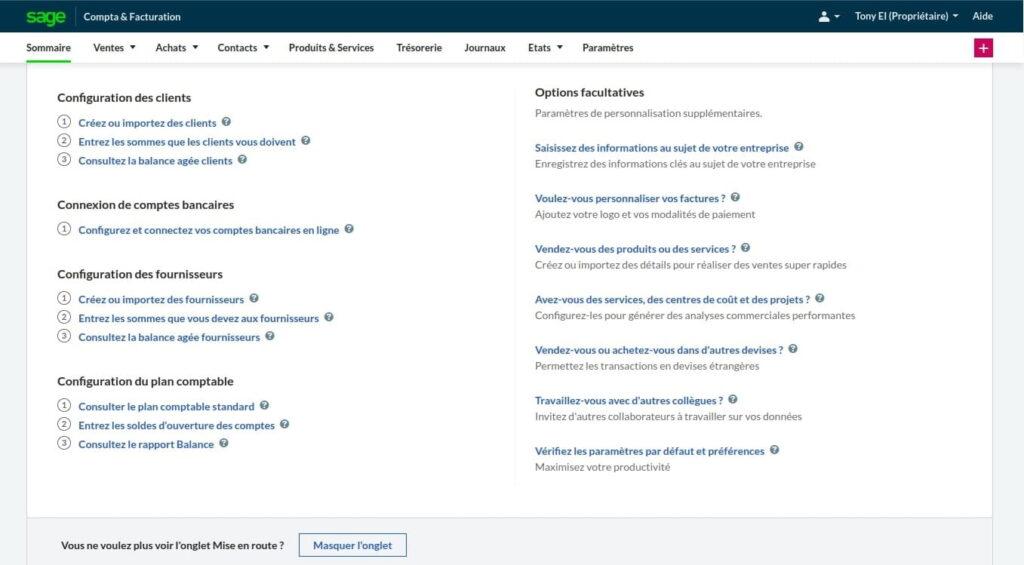 Accueil de Sage Business Cloud Compta et Facturation