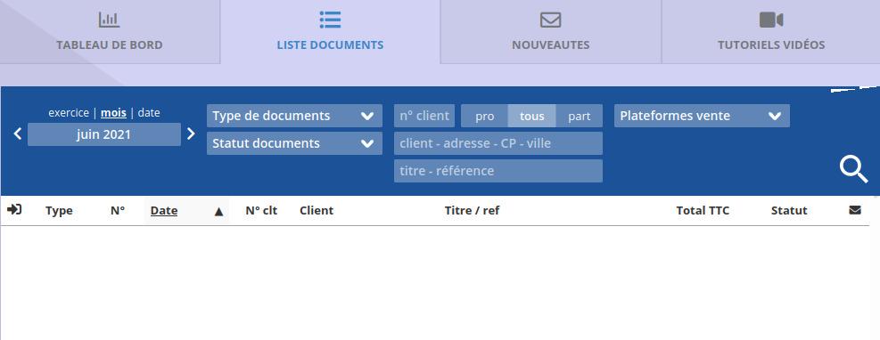 Aperçu de la liste des documents ClicFacture