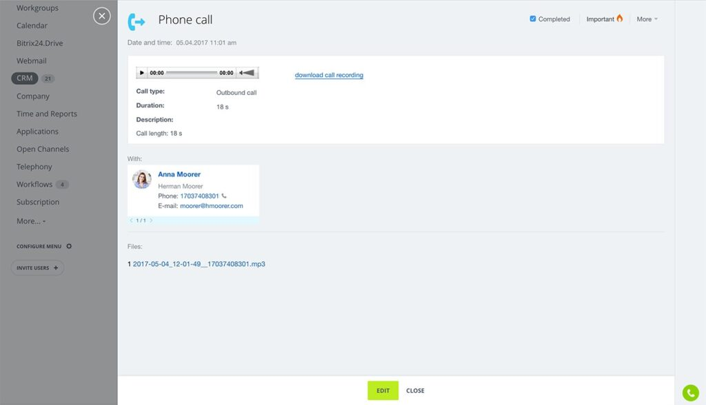 Appel enregistré sur le CRM Bitrix24