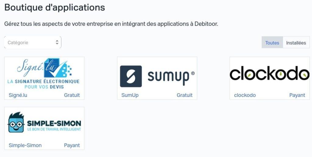Boutique d'applications tierces debitoor