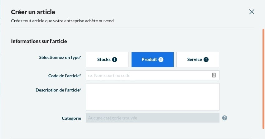 Création d'articles Sage Business Cloud Compta et Facturation