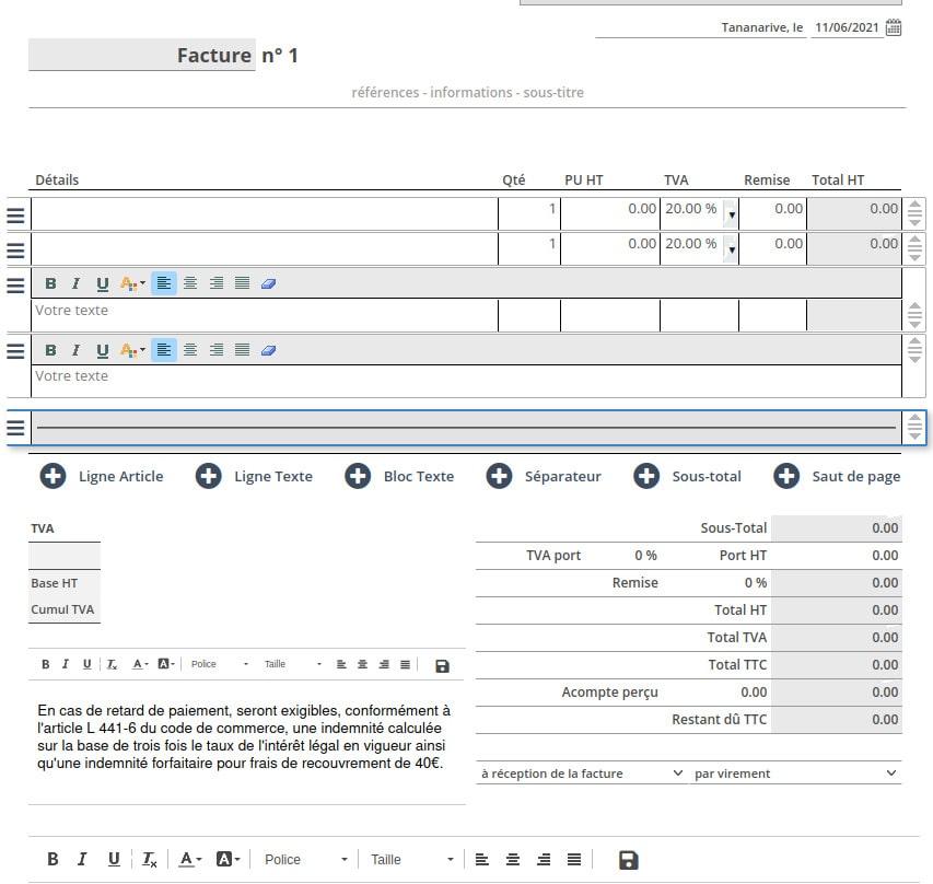 Création d'une facture ClicFacture