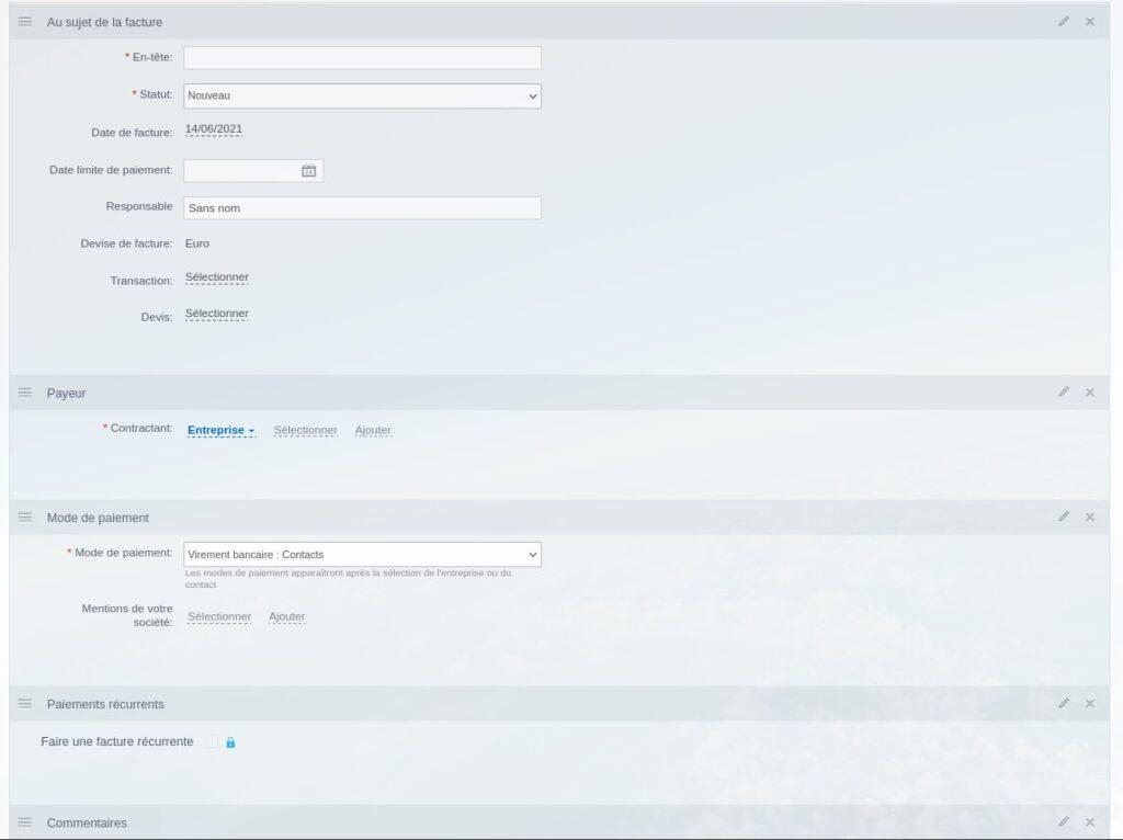 Création d'une nouvelle facture sur Bitrix24