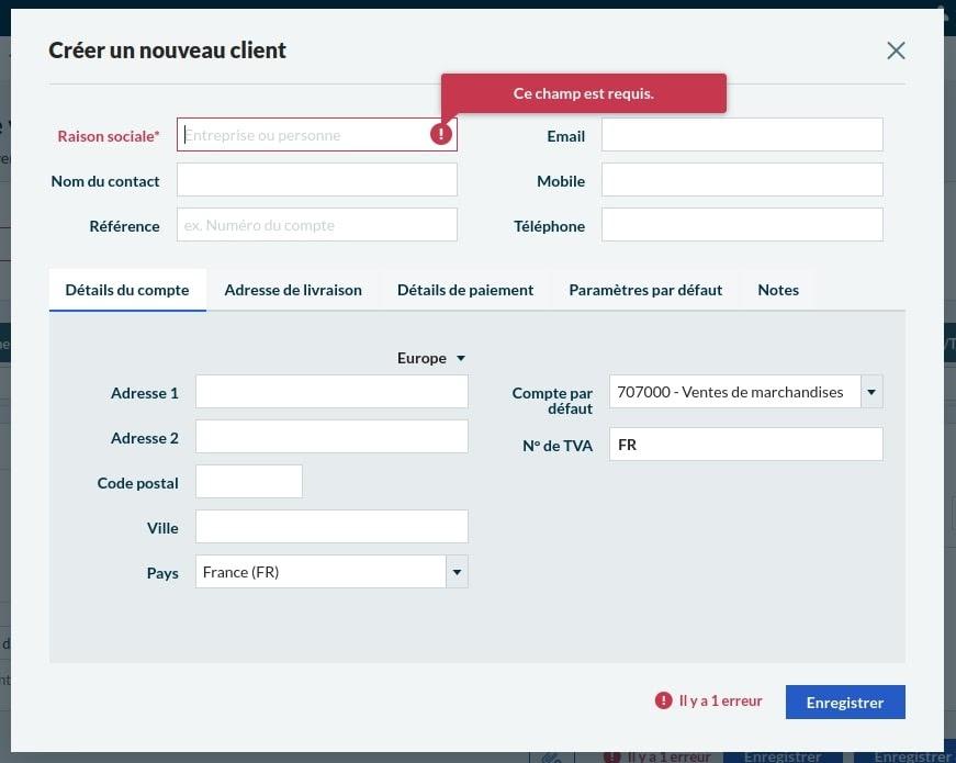 Création de client Sage Business Cloud Compta et Facturation