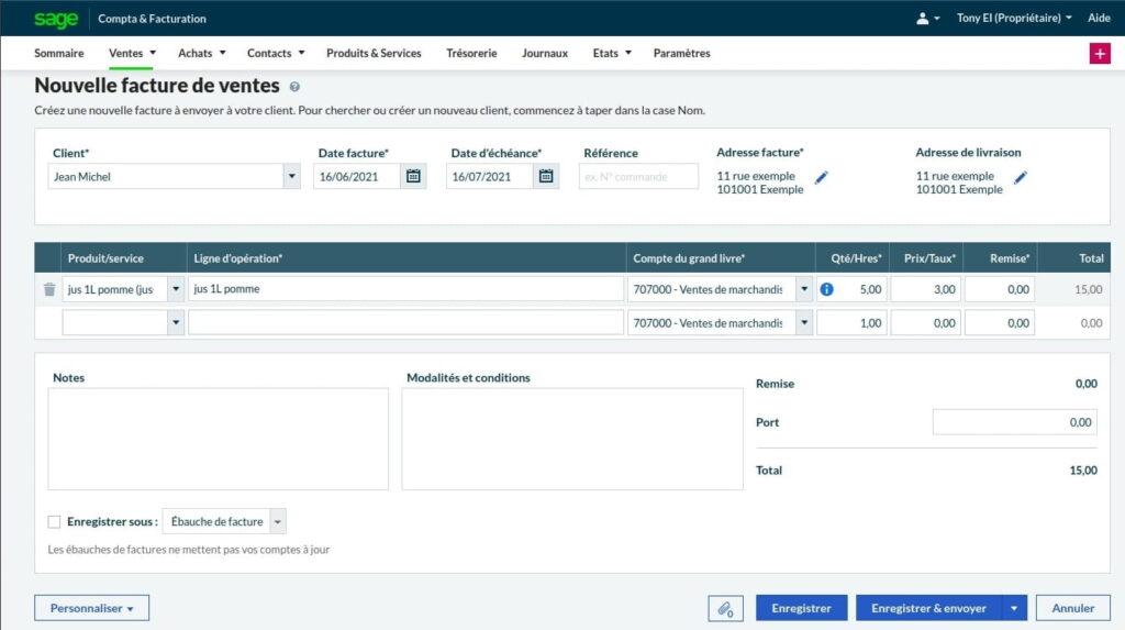 Éditeur de factures Sage Business Cloud Compta et Facturation
