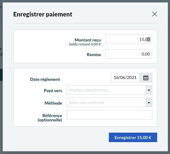Enregistrement de paiement Sage Business Cloud Compta et Facturation