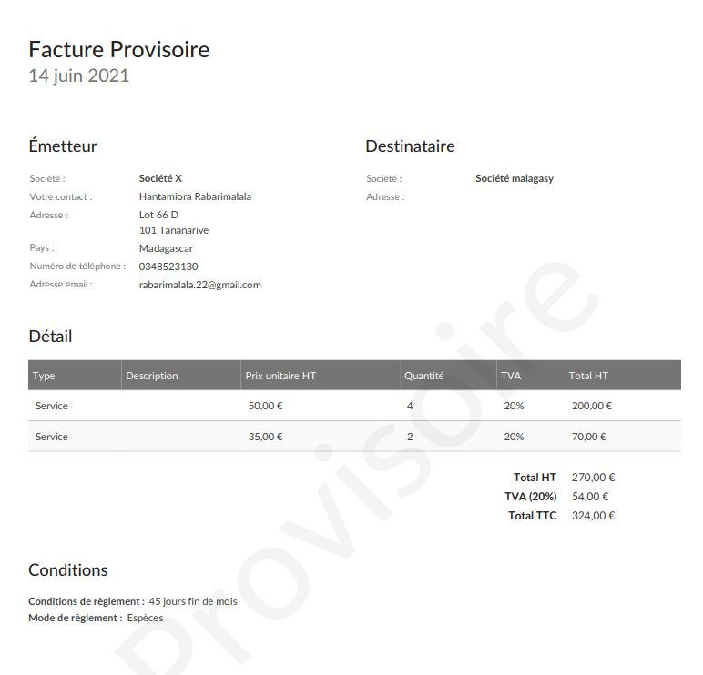 Exemple d'une facture en format PDF envoyé par e-mail Facture.net
