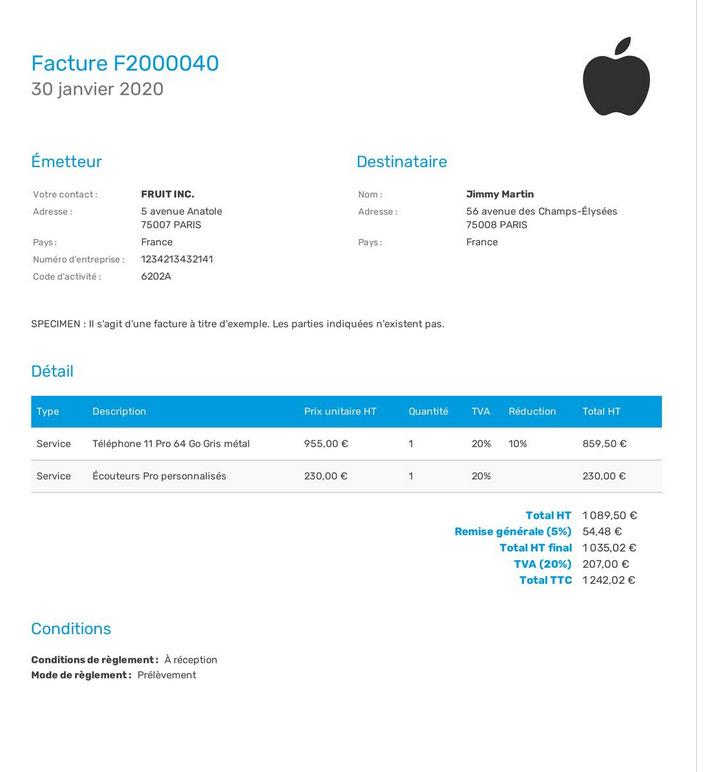Exemple d'une facture personnalisée facture.net