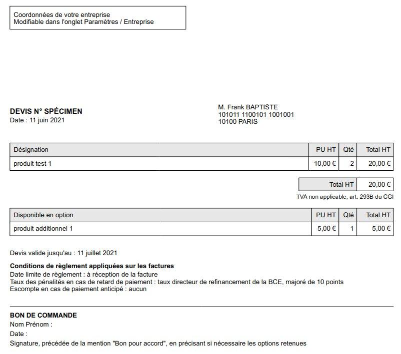 Exemple de devis, communiqué au client au format PDF par e-mail MonAE