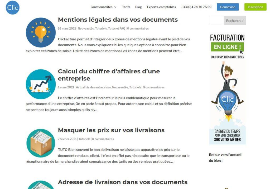 Exemple des tutoriels disponibles sur le site web de ClicFacture