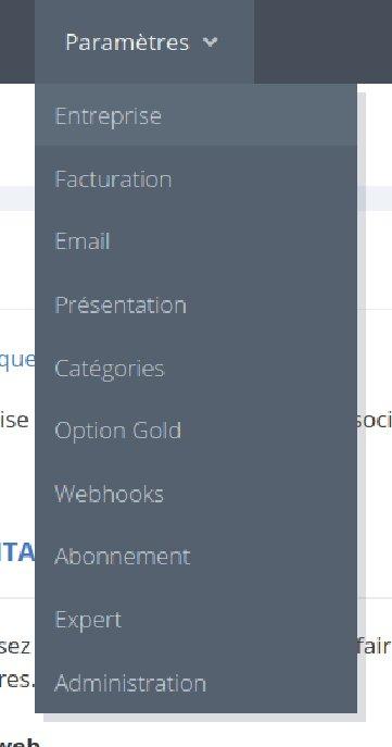 Les options du menu paramètres MaTPE