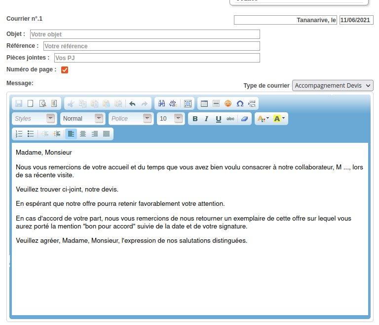 Modèle d'un courrier de type accompagnement devis ClicFacture