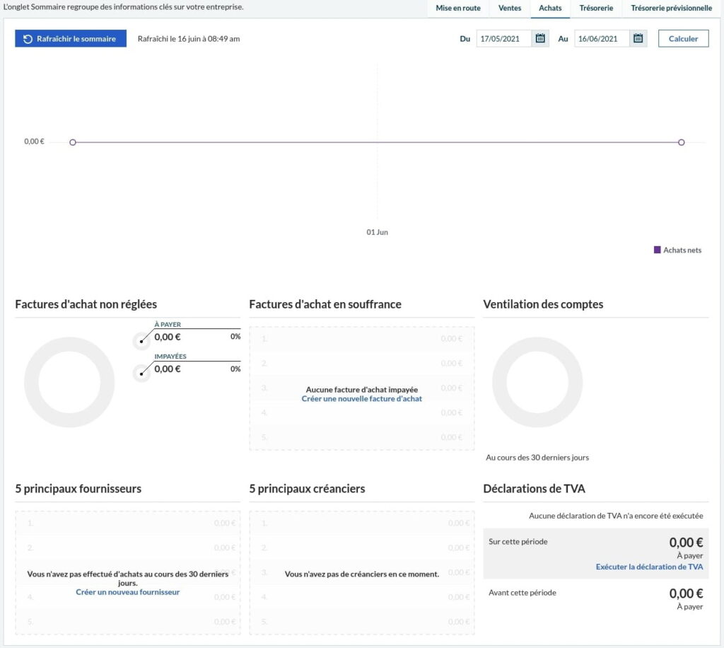 Onglet achats dans l'accueil Sage Business Cloud Compta et Facturation