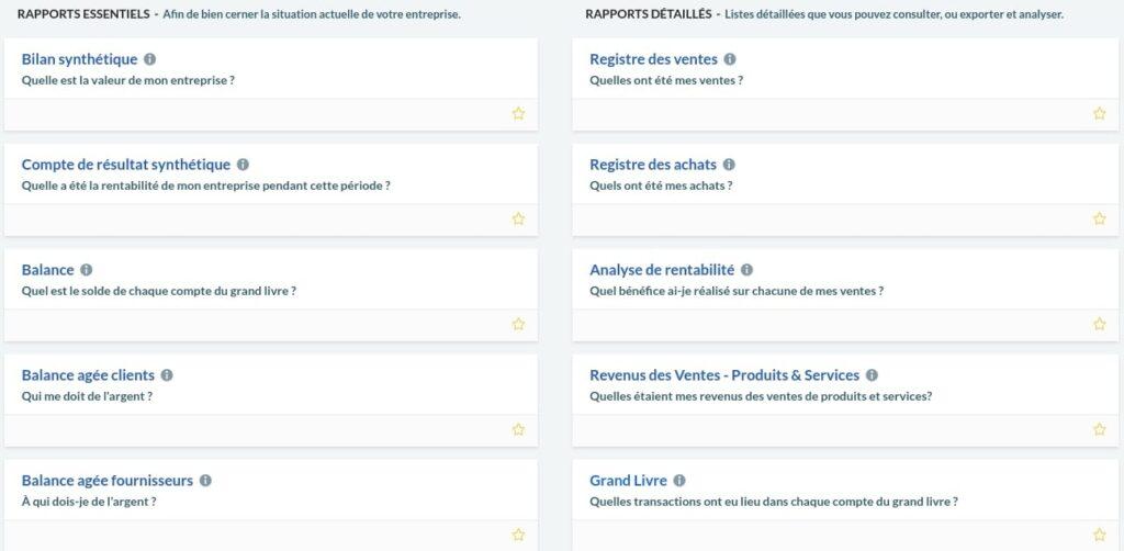 Quelques-uns des rapports disponibles Sage Business Cloud Compta et Facturation