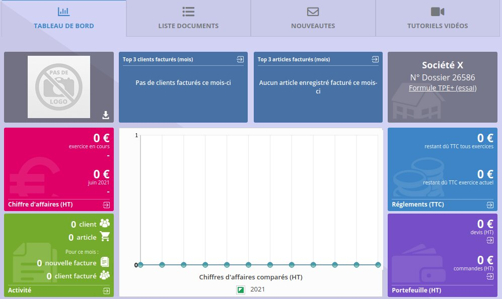 Un tableau de bord sur l'accueil ClicFacture