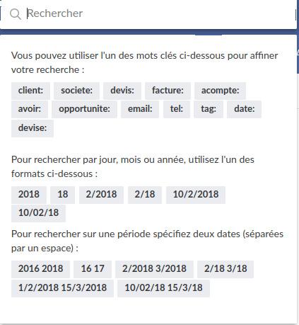 Une barre de recherche filtrée facture.net