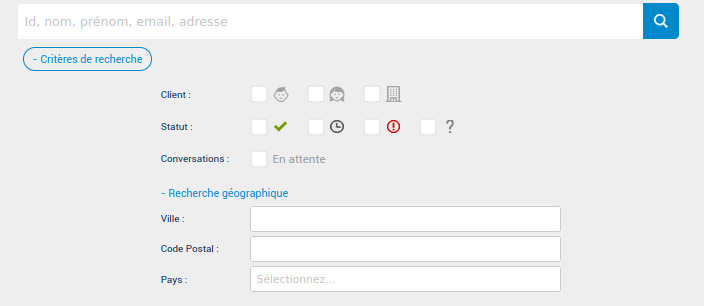 Une barre de recherche filtrée pour les clients Iabako