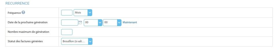 Configuration de la partie récurrence d'une facture Openflex