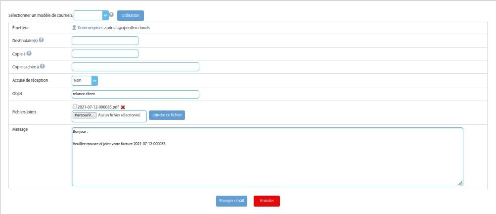 Envoi d'une facture Openflex