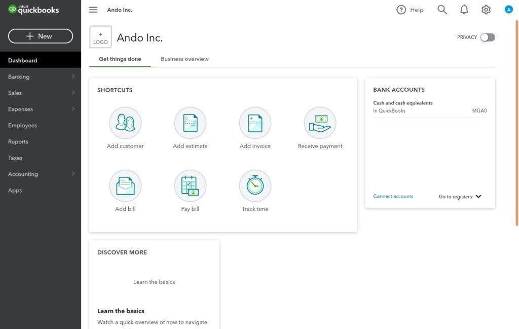 Interface de Quickbooks meilleurs logiciels gestion commerciale