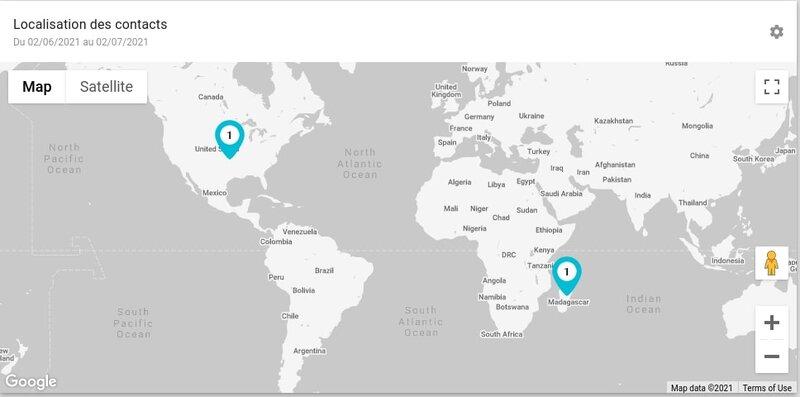 La carte du monde sur l'accueil du logiciel